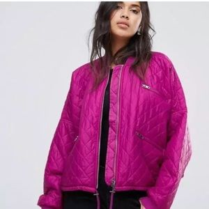 Free People NWT Quilted Bomber Jacket Pink